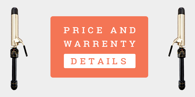 "Price And Warranty Details Banner Of Helen Of Troy Gold Series 1-1/4"" Spring Curling Iron"