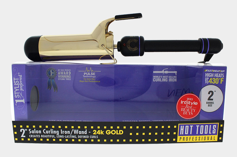 "Hot Tools 2"" Gold Plated Salon Curling Iron"