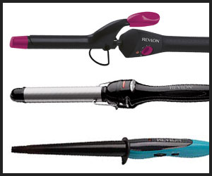 Different size and barrels of Revlon curling iron