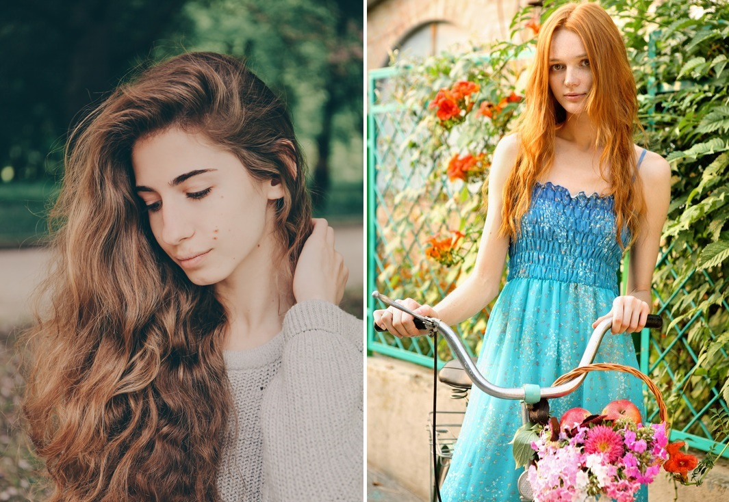 Girls with combination hair