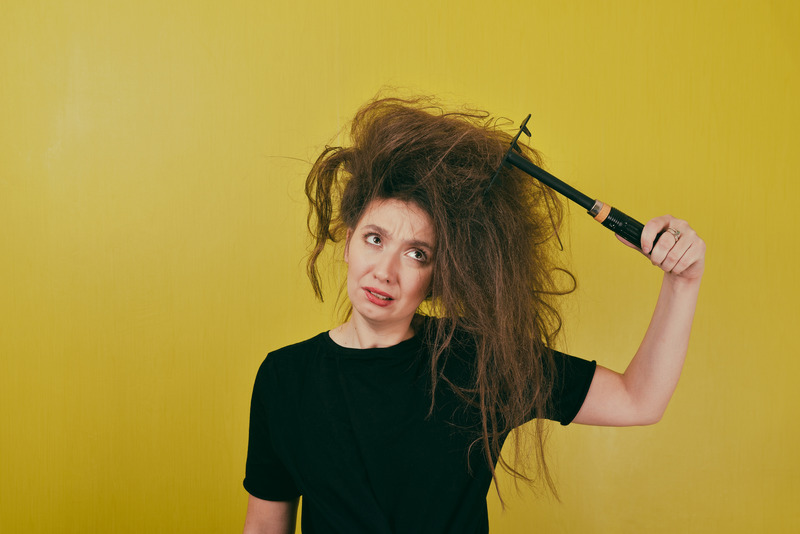 Woman with thick messy hair